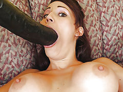 Layla fucking a two foot long brutal dildo