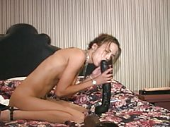 Big Black Brutal Dildo Fucking On Bed