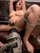 18 yr old first timer gets her tight pussy pounded by machines.