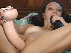 seks shop, Fingering Her Ass While Riding A Brutal Dildo