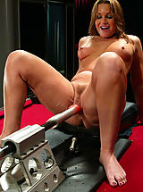 Toys Pics: Flower Tucci showers the fuckingmachines with her juices.