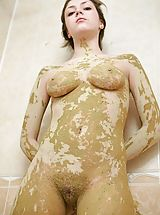 Celesta needs a volunteer to help wash the mud off her body