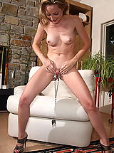 dildo king, tabitha 11 large labia shaved pussy clamps