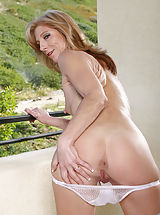 Trimming Pussy, Sexy milf lady wearing an elegant dress exposes her shapely cougar ass